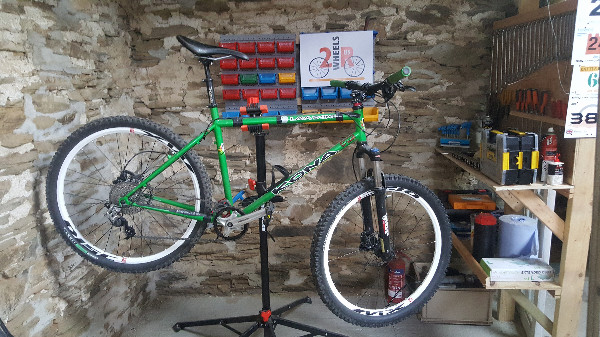 Bike undergoing maintenance